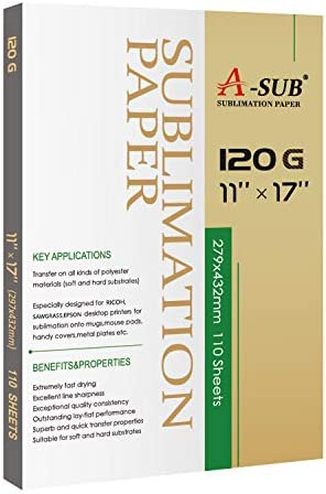 A-SUB Sublimation Paper Heat Transfer 110Sheets 11x17 Inches Tabloid Size Compatible with Inkjet Printer 120gsm