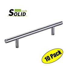 "KES Cabinet Pull Handle Solid Metal 96mm or 3-3/4"" Hole Center SUS304 Stainless Steel, Brushed Finish, 10 Pack, HHP202S96-2-P10"