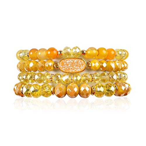 Beaded Yellow Set Jewelry (RIAH FASHION Bead Multi Layer Versatile Statement Bracelets - Stackable Beaded Strand Stretch Bangles Sparkly Crystal, Faux Druzy, Pave Fireball (Oval Acrylic Druzy - Yellow))