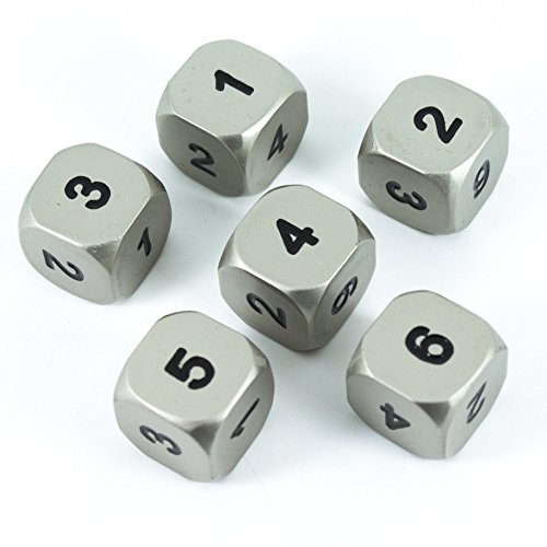 Paladin Roleplaying Solid Metal D6 Dice, Set Of Six, Silver (Six Metal)