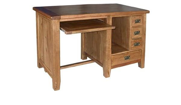 Neo escritorio mesa madera maciza de roble muebles rústicos: Amazon.es: Hogar