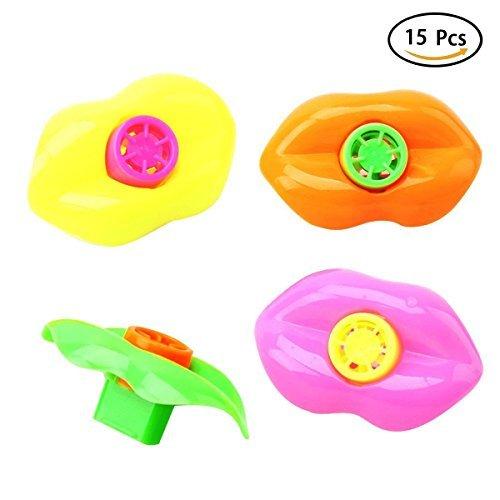Finduat 50 PCS Lip Whistle for Kids Party Favors Plastic Noisemakers (Assorted Colors, 2.5 -