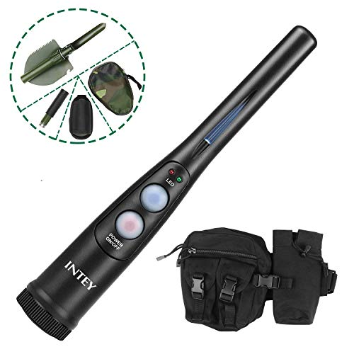 INTEY Hunter Series Pin-Pointer:The Necessity for Detecting Metals and Coins in Caves,Soils with Multifunctional 180 Rotatable Shovel & Waist Bag-Combined with Any Metal Detector for Treasure