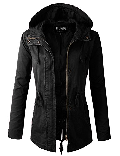 (TOP LEGGING TL Women's Versatile Militray Anorak Parka Hoodie Jackets with Drawstring Y65543 Black L)