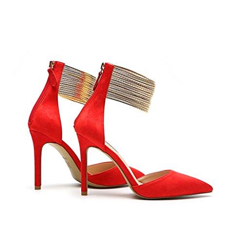 Sandalias 34 5cm Chi Punta Size De Cheng 8 Red Boda Aguja Dorada Moda Business Red10 Con Costura 5cm Sexy color Zapatos Tacón Alto Fang Electronic qSSIBw