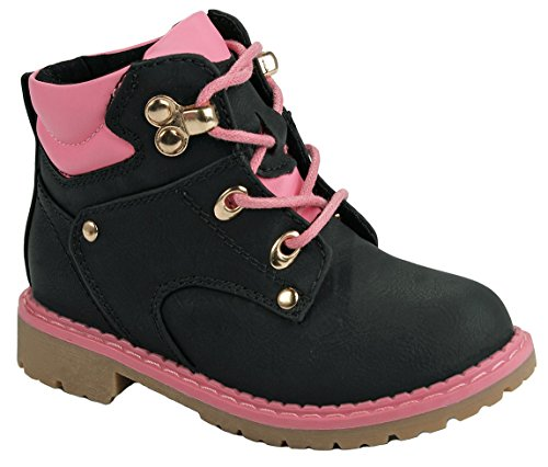 Baby Girls Toddler Faux Nubuck Two Tone Lace Up Padded Collar Ankle Combat Work Boots - stylishcombatboots.com