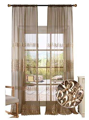 - BW0057 Elegance Fine Embroidered Sheer Curtain Window Treatment Transparent Rod Pocket Voile Drape for Bedroom Living Room (1 Panel, W 50 x L 63 inch, Brown) 1300757C1BYGBN15063-8518