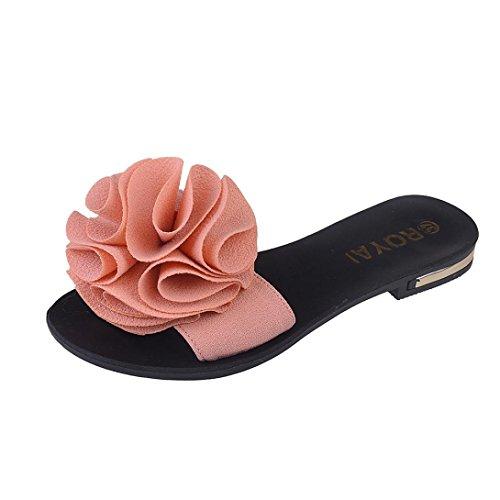 Damen Zehentrenner, Yogogo Strand Schuhe Blume flache Sandalen Slip Resistant Pantoffeln Sandale (39, Rosa)
