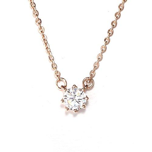 18K Gieschen Jewelers CZ Crystal Simple Necklace - Rose Gold (Louis Vuitton Pendant)