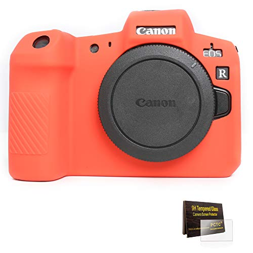 (PCTC Accessories Compatible for Canon EOS R Camera Silicone Protective Cover Housing Frame Shell Case + 2 LCD Screen Protector + 2 Top Screen Protector (red))