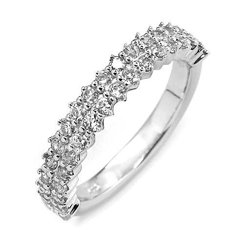 Double Row Cubic Zirconia 925 Sterling Silver Band