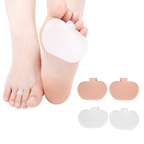 Metatarsal Pads, Silicone Apple Forefoot Pad, Ball of Foot Cushions Metatarsal and Mortons Neuroma Pads Forefoot Insoles for Metatarsal Support and Rapid Foot Pain Relief (2 Pair) - Happy ()