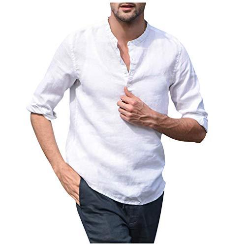 - LEKODE Men T-Shirt Vintage Linen New Tee Retro Casual Tops Henley Shirt Fashion Blouse(White,L)