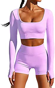 BTAPARK Long Sleeve Yoga Workout Set 2 Piece for Women Gym Clothes Set with Thumb Hole Seamless Workout Outfit