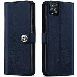 TheGiftKart Flip Case Back Cover for Samsung Galaxy M12 / F12 / A12 (Genuine Leather Finish | Inside Pockets & Inbuilt…