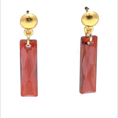 Swarovski Column Earring - Red Magma Rectangle Queen Baguette Crystal, Gold Tone Pewter Dome Post, (Crystal Rectangular Column)
