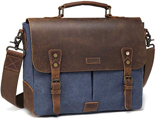 Vaschy Casual Genuine Leather Canvas messenger Bag Notebook Shoulder Bag Bookbag with Detachable Strap