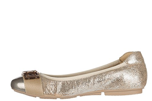 Hogan Damen Leather Ballet Flats Ballerinas wrap 144 Gold