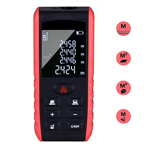 Goodes Classic Laser Measure- Laser Distance Meter 196Ft Handheld Mini Digital Tape with Backlit LCD and 99 Memory Storage for Angle Distance Area Volume Measurement Black&Red by Goodes