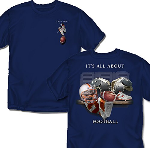 Coed Sportswear Football T-Shirt: It's All About Football, Navy - Youth X-Large Coed Sportswear Football