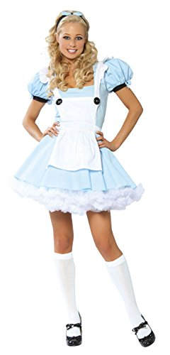 [3 Piece Alice in Wonderland Light Blue Dress Costume] (After Party Alice Costume)