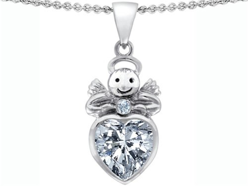 Star K Sterling Silver Love Angel Pendant Necklace with 10mm Heart
