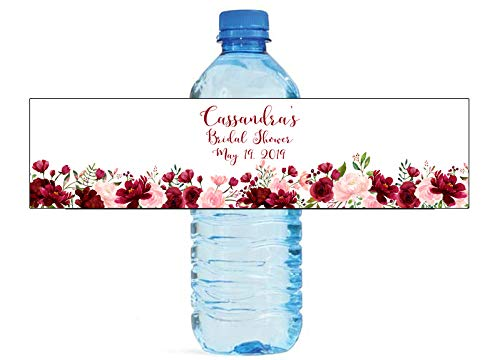 Blush & Burgandy Themed Water Bottle Labels, Weddings, Birthday, Engagement Party, Sweet 16 Winter Wonderland]()