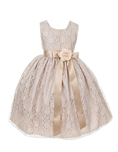 Cinderella Couture Girls Elegant Champagne Lace Flower Girl Dress & Sash