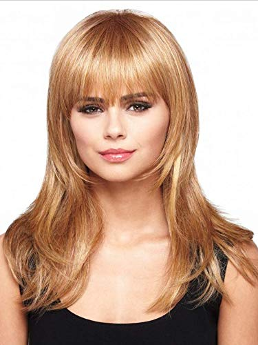 GNIMEGIL Long Light Blonde Straight Wig Trendy Hairstyles Synthetic Fiber Hair Replacement Wigs for Women with Bangs…