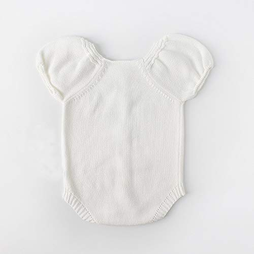 NUWFOR Newborn Baby Girls Boys Knitted Toddler Puff Sleeves Jumpsuit Clothes Outfits(White,0-6 Months) by NUWFOR (Image #1)
