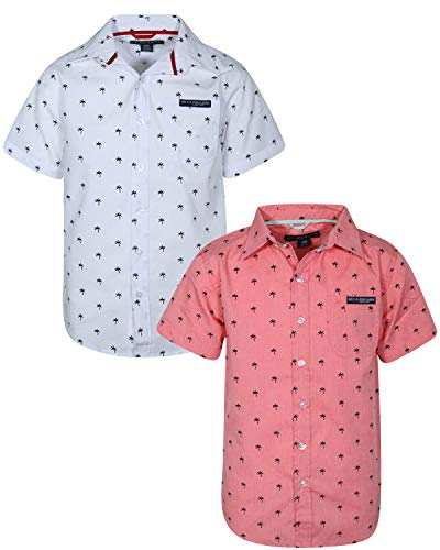 (U.S. Polo Assn. Boy\\\'s Short Sleeve Woven Shirt (2 Pack) Coral/White Palm Trees, Size 10/12')