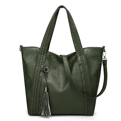 QJAIQQ Women's Handbags Fashion Shoulder Tote Crossbody Tassels,Red Green