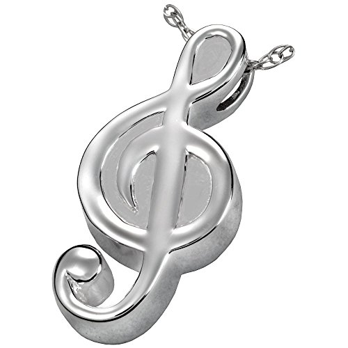 Memorial Gallery MG-3117s Treble Clef Sterling Silver Cremation Pet Jewelry by Memorial Gallery