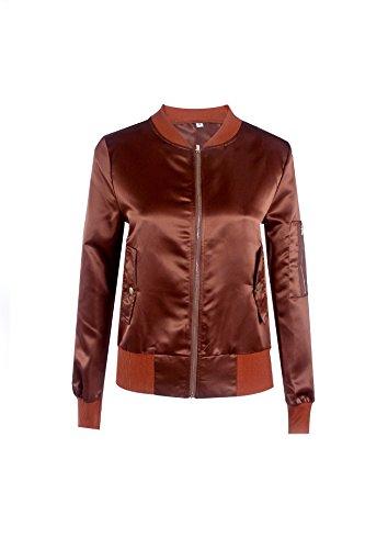 Quilted Satin Baseball Jacket (Zdorzi Ladies Satin Grease Jacket Classic Long Sleeve Zip Up Short Bomber Jacket Lightweigh Baseball Jacket Coat)