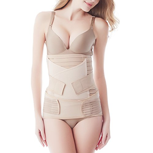 92010e5b1e Aigori 3 in 1 Postpartum Recovery Belly Wrap Waist Belt Belly Band Body  shaperwear Postnatal Girdle Corset Abdominal Abdomen Belly Binder(Size F
