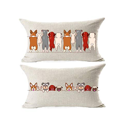 - GAWEKIQE Many Dogs Bulldog Child Gife Animal Lovely Back View 2 Piece Set Cotton Linen Throw Pillow Cover Cushion Case Holiday Rectangle 12