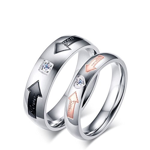 Beydodo Matching Ring Sets for Couples Stainless Steel Rings His and Hers love you Arrow CZ Size 8 & Size 10 by Beydodo