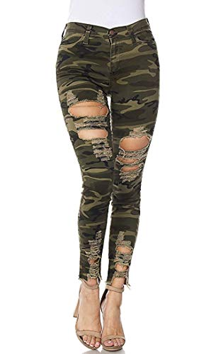 Vibrant Women's Juniors High Rise Jeans w Heavy Distressing (5, Camouflage)