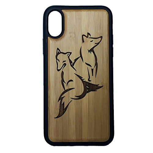 Fox Phone Case Cover for iPhone XR by iMakeTheCase   Eco-Friendly Bamboo Wood Cover + TPU Wrapped Edges   Foxy Couple Cute Best Friends   Spirit Animal Totem Woodland Foxes