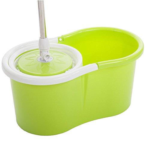 Easy Magic Floor Mop 360° Bucket 2 Heads Microfiber Spin Rotating Head New 22 green