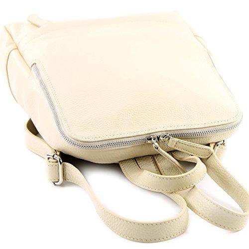 ital cuero Mochila mujer Leather Citybag Mochila de de Mochila T138 Mochila modamoda Creme para w1Iq5UFx