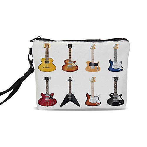 (Guitar Simple Cosmetic Bag,A Wide Variety of String Instruments Realistic Musical Pattern Jazz Blues Acoustic for Women,9