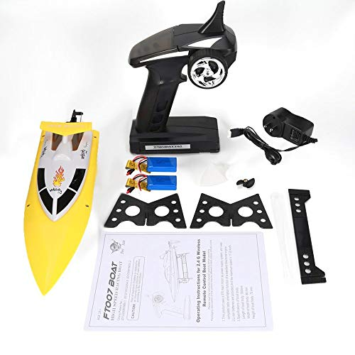 Emily Feilun FT007 2.4G RC Racing Boat Super Speed Electric RC Boat Toy 2 Batteries Yellow 1400mAh US ()