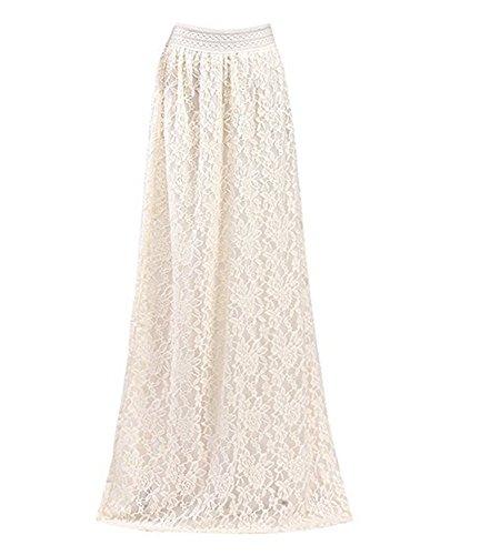 Capray Women Elegant Lace Crochet High Waist Elastic Skirt Long Maxi Skirt (Beige, XL)