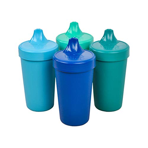 (Re-Play Made in The USA 4pk No Spill Sippy Cups for Baby, Toddler, and Child Feeding - Sky Blue, Aqua, Navy, Teal (True Blue+))
