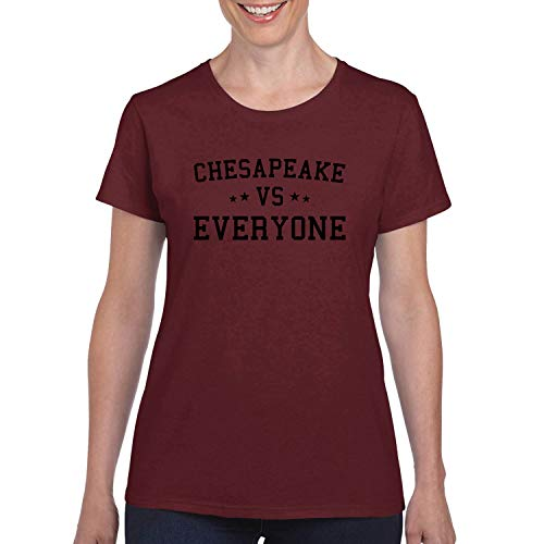 Donkey Threads Chesapeake Vs Everyone City Pride Womens Graphic T-Shirt, Maroon, XX-Large