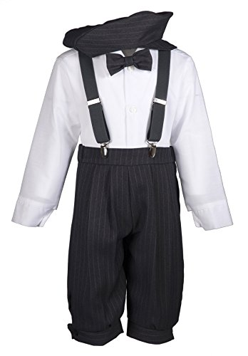 Tuxgear Boys Grey Pinstripe Knicker Outfit with Charcoal Suspenders, Baby 18 -