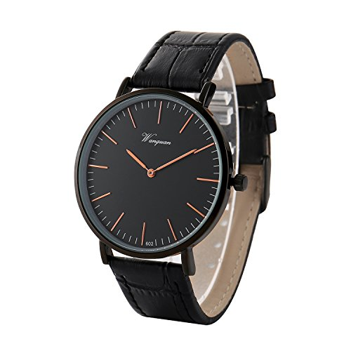 Takyae Men's Slim Leather Band Casual Analog Quartz Watch Black