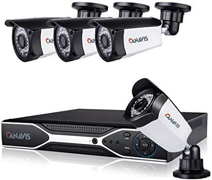 1080P Simplified POE Security Camera System 4 CH NVR with 4Pcs HD Outdoor Indoor Network IP Surveillance Cameras Night Vision, Remote View, Motion Detection (No Hard Drive) by CANAVIS