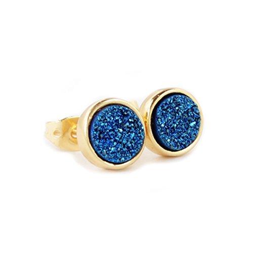 JAB 8mm Round Blue Color Natural Agate Titanium Druzy Stud Earrings Gold Plated Druzy (Blue Quartz Earrings)